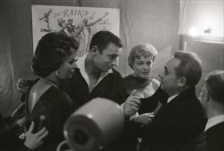 Yves Montand, Simone Signoret, Sophia Loren et Henri-Georges Clouzot (1958)
