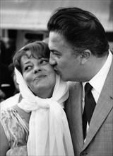 Jeanne Moreau et Federico Fellini (1958)