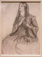"""Rossetti, """"Elizabeth Siddal plaiting her Hair"""""""