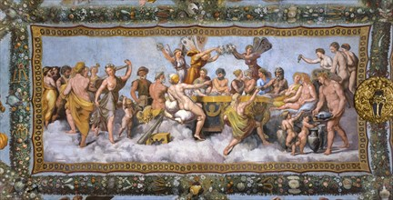 Rome, Villa Farnesina, Loggia of Cupid and Psyche: view of the vault with the Marriage of Cupid and Psyche, the symbolic culmination of the entire cycle
