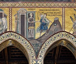 """Monreale, Duomo: """"Rebecca orders her son Jacob to flee to Haram with his brother Laban"""""""