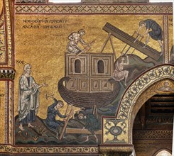"""Monreale, Duomo: """"Noah builds the Ark according to the mandate of God"""""""