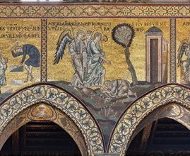 """Monreale, Duomo: """"Abraham prostrates himself before the three angels"""""""