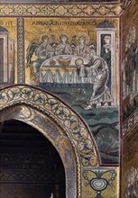 """Monreale, Duomo: """"Abraham serves the table of the three angels"""""""