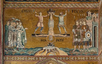 """Monreale, Duomo: """"St. Peter's crucifixion in Rome"""""""
