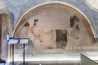 """""""Lunette of the Poets"""", with portraits of Dante Alighieri and Boccaccio. Frescoes by Jacopo di Cione"""