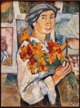 Goncharova, 'Self-portrait with Yellow Lilies'