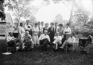 Henry Ford, Thomas Edison, U.S. President Warren Harding Harvey Firestone with Families, Portrait while Sitting at Campsite, Maryland, USA, Harris & Ewing, 1921