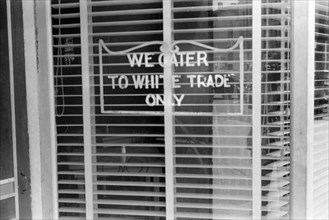 """Restaurant with Sign """"We Cater to White Trade Only"""", Lancaster Ohio, USA, Ben Shahn, Farm Security Administration, August 1938"""
