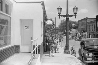 "Street Scene, Door Marked ""White Ladies Only"", Durham, North Carolina, USA, Jack Delano, Office of War Information, May 1940"