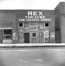 """Theater with Sign """"Rex Theater for Colored People"""", Leland, Mississippi, USA, Dorothea Lange, Farm Security Administration, June1937"""