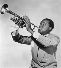 Louis Armstrong (1901-1971),  American Jazz Performer, Playing Trumpet, circa 1950's