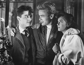"""Sal Mineo, James Dean and Natalie Wood, on-set of the Film, """"Rebel Without a Cause"""", 1955"""