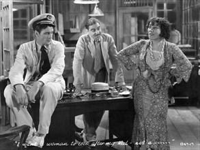 """Gary Cooper, Joseph Calleia, Raquel Davidovich, on-set of the Film, """"His Woman"""", 1931"""