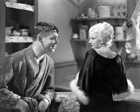"""Clark Gable, Jean Harlow, on-set of the Film, """"Hold Your Man"""", 1933"""