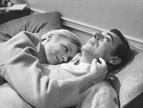 """Ingrid Thulin, Yves Montand, on-set of the Film, """"La Guerre est Finie"""", 1966"""