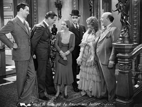"""Gary Cooper, Paul Lucas, Sylvia Sidney, William 'Stage' Boyd, Guy Kibbee, on-set of the Film, """"City Streets"""", 1931"""