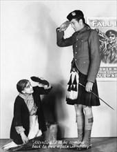 """Beryl Mercer, Gary Cooper, on-set of the Film """"Seven Days' Leave"""", 1930"""