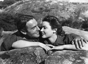 "Randolph Scott, Gene Tierney, on-set of the Film "" Belle Star"",  20th Century Fox, 1941"