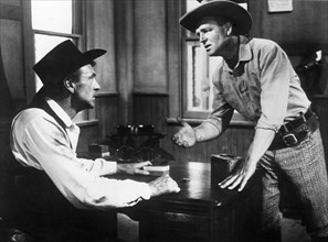 """Gary Cooper, James Millican, on-set of the Film """"High Noon"""", 1952"""