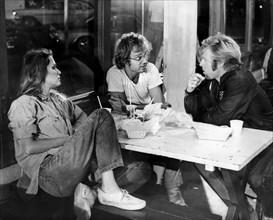 "Lauren Hutton, Michael J. Pollard, Robert Redford, on-set of the Film ""Little Fauss and Big Halsy"", 1970"