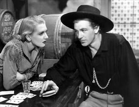 "Jean Arthur, Gary Cooper, on-set of the Film ""The Plainsman"", 1936"