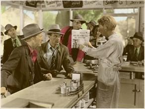 """Gary Cooper (c), on-set of the Film, """"Meet John Doe"""", 1941"""