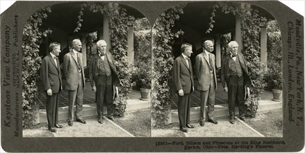 Harvey Firestone, Henry Ford & Thomas Edison  at King Residence during U.S. President Warren G. Harding's Funeral, Marion, Ohio, USA, Stereo Card, Keystone View Company, August 1923
