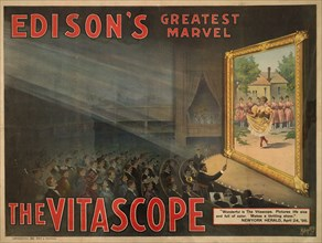 """Audience Watching Large Screen, """"Edison's Greatest Marvel, The Vitascope"""", Motion Picture Poster, Raff & Gammon, Metropolitan Print Company, New York, 1896"""