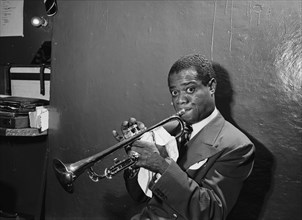 Louis Armstrong, American Jazz Performer, Aquarium, New York City, New York, USA, William P. Gottlieb Collection, July 1946