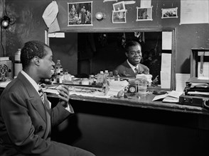 Louis Armstrong, American Jazz Performer, Portrait in Dressing Room, Aquarium, New York City, New York, USA, William P. Gottlieb Collection, July 1946