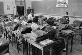 Integrated Classroom showing Empty Seats during Period of Violence Related to School Integration, Clinton, Tennessee, USA, photograph by Thomas J. O'Halloran, September 1956