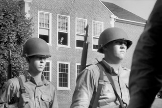 National Guard on Patrol during School Integration, Clinton, Tennessee, USA, photograph by Thomas J. O'Halloran, September 1956