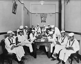African-American Sailors in Rest Room of Red Cross Headquarters