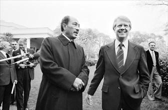 U.S. President Jimmy Carter with Egyptian President Anwar Sadat at the White House, Washington