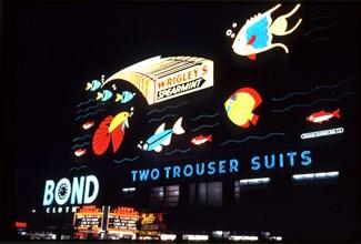 Times Square, billboards, street scene, New York City, historical,
