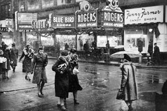 street scene, stores, retail, Providence, historical,