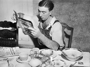 man, reading, leisure, farmer, historical,
