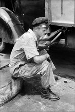 man, occupations, gas station, historical,