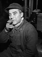 man, occupations, manufacturing, smoking, historical,