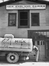 man, occupations, dairy, food and drink, historical,