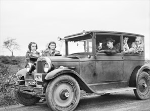 family, car, Pine Camp Expansion, military, historical,