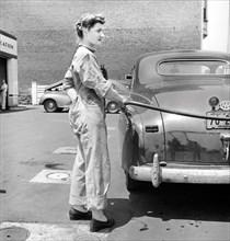 woman, occupations, gas station, World War II, historical,