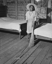 girl, household chores, rural, African-American ethnicity, historical,