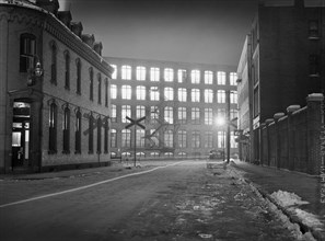 street scene, factory, textile industry, manufacturing, historical,