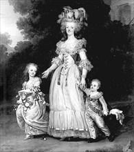 La reine Marie-Antoinette et ses enfants, par Wertmuller.
