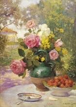 Hippolyte-Lucas, Still Life of Summer Flowers and Fruit
