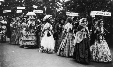 The 'Famous Women' Pageant of the Women's Coronation Procession, London, 1911. Artist: Unknown