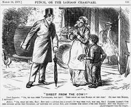 Direct from the Cow!, 1877.  Artist: Charles Samuel Keene