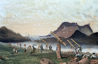 Observing a total solar eclipse, 1851 (1857). Artist: Anon